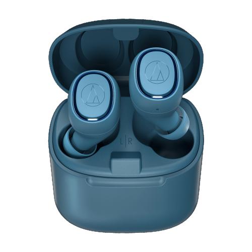 ATH-CK3TW 真無線耳機(藍色),搭配充電盒使用,最長可使用30小時